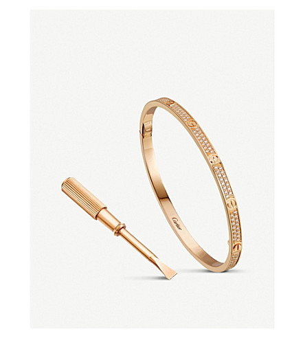CARTIER LOVE 18ct pink-gold and diamond pave bracelet small (Pink+gold