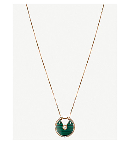 CARTIER Amulette de cartier 18ct pink gold, malachite and diamond necklace