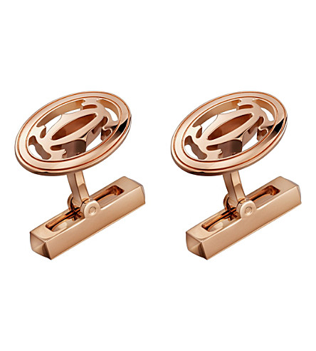 CARTIER Double C Logo 18ct pink-gold cufflinks