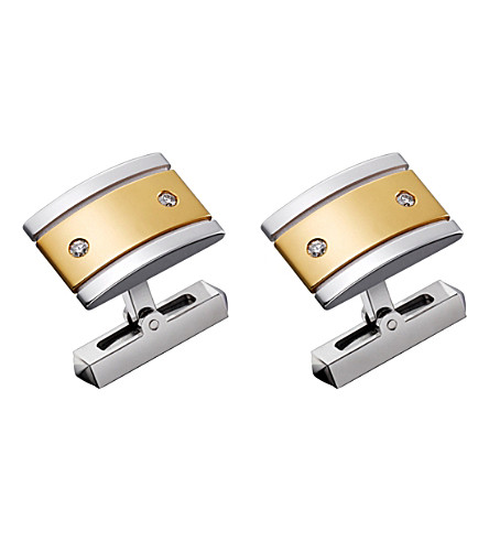 CARTIER Santos de Cartier 18ct gold, sterling silver and diamond cufflinks