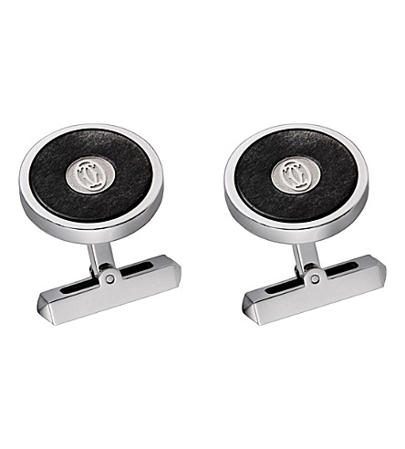 CARTIER Silvered obsidian and sterling silver cufflinks