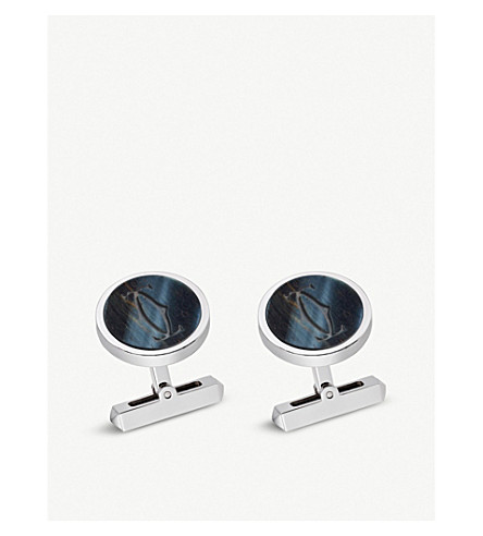 CARTIER Double C sterling silver and hawk's eye cufflinks