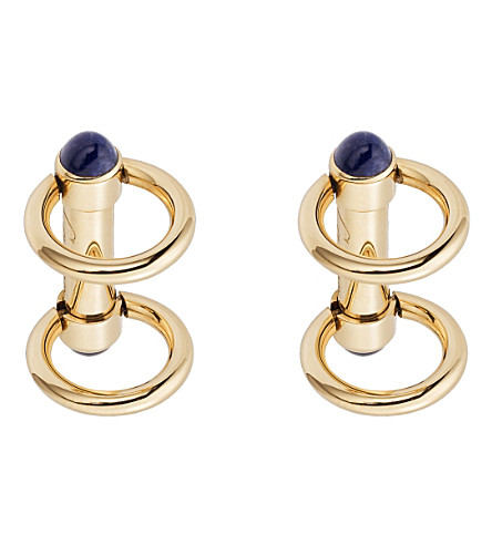 CARTIER Double ring decor gold cufflinks