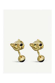 CARTIER Panther head gold cufflinks