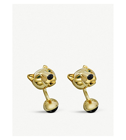 CARTIER Panther head gold cufflinks