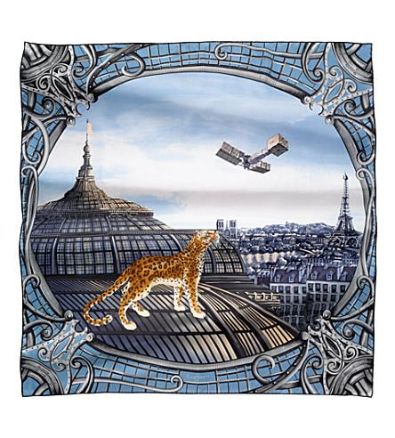 CARTIER Odyssée de Cartier motif silk scarf (Blue