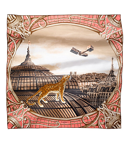 CARTIER Odyssée de Cartier silk scarf (Pink