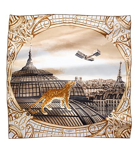 CARTIER Odyssée de Cartier motif silk scarf (Beige
