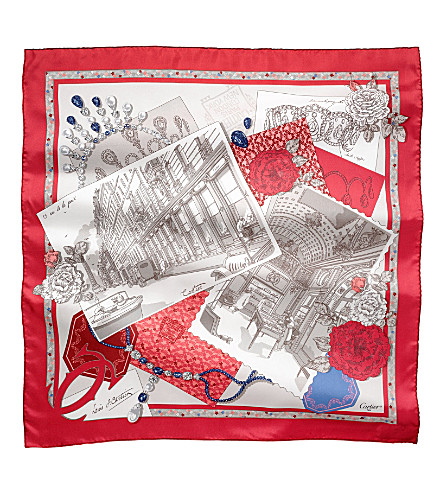 CARTIER 13 Rue de la Paix silk scarf (Red