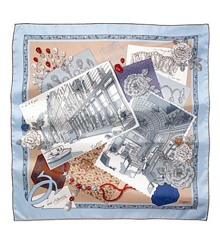 CARTIER 13 Rue de la Paix silk scarf (Blue