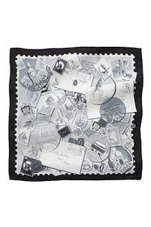 CARTIER Travel and Stamps silk scarf