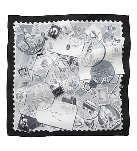 CARTIER Travel and Stamps silk scarf (Black+and+white