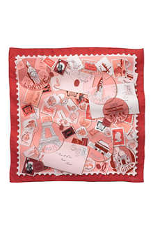 CARTIER Travel and Stamps motif silk scarf