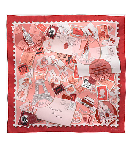 CARTIER Travel and Stamps motif silk scarf (Pink