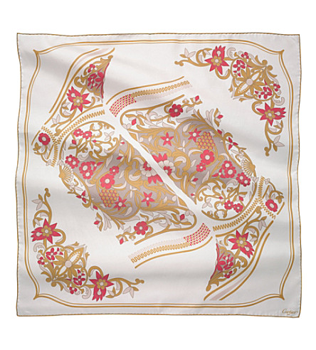 CARTIER Jeanne Toussaint silk scarf (Ivory+and+pink