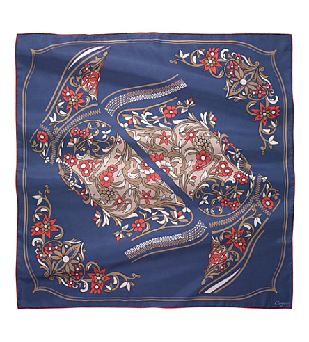 CARTIER Jeanne Toussaint silk scarf (Blue+and+fuchsia