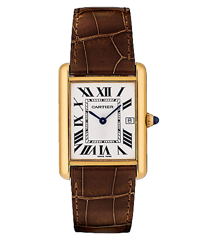 CARTIER Tank Louis 18ct yellow-gold and leather watch