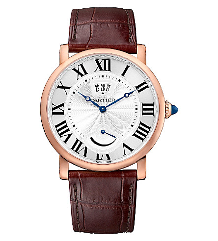 CARTIER Rotonde de Cartier 18ct pink-gold and alligator-skin watch