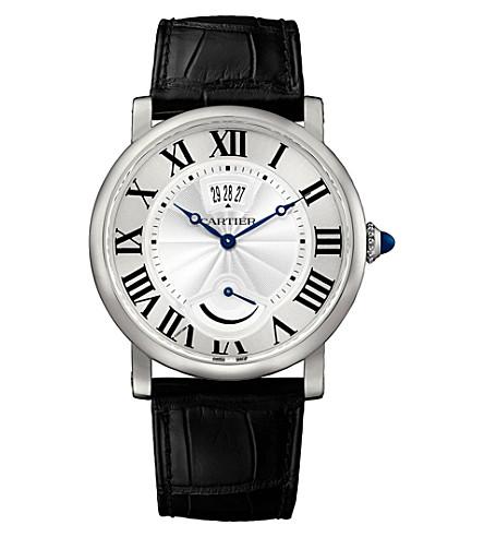 CARTIER Rotonde de Cartier steel and alligator-skin watch