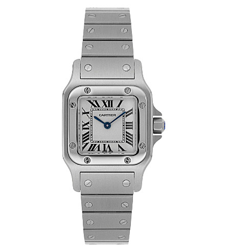 CARTIER Santos steel and leather large watch