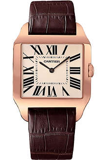 CARTIER Santos-Dumont large 18ct pink-gold watch