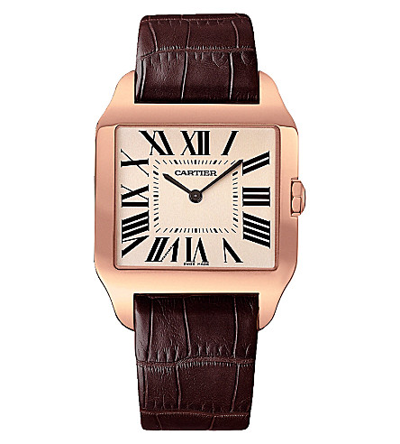 CARTIER Santos Dumont 18ct pink-gold and leather large watch