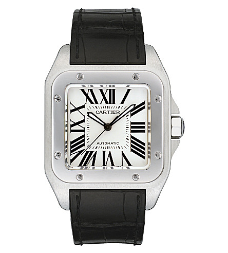 CARTIER Santos 100 stainless steel and leather large watch
