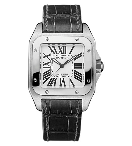 CARTIER Santos steel and leather medium watch