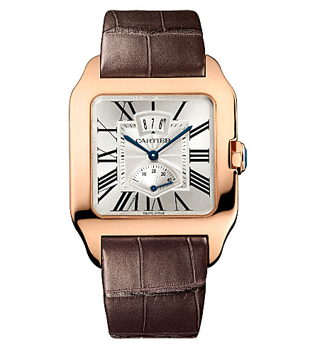 CARTIER Santos Dumont 18ct pink-gold and leather watch