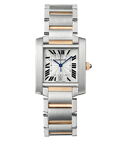 CARTIER Tank Française 18ct yellow-gold and steel large watch