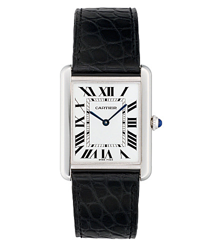 CARTIER Tank Solo steel and leather large watch