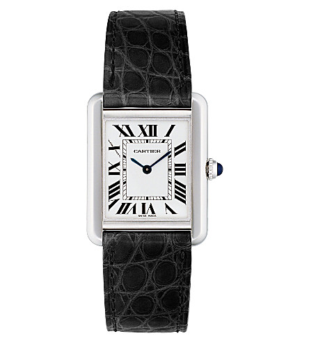 CARTIER Tank Solo steel and leather small watch