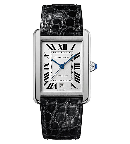CARTIER Tank Solo stainless steel and leather extra-large watch