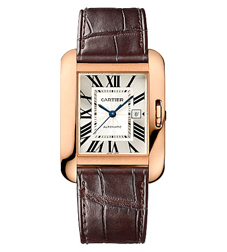 CARTIER Tank Anglaise 18ct pink-gold and leather large watch