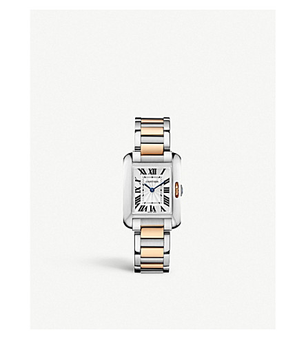 CARTIER Tank Anglaise 18ct pink-gold and steel small watch