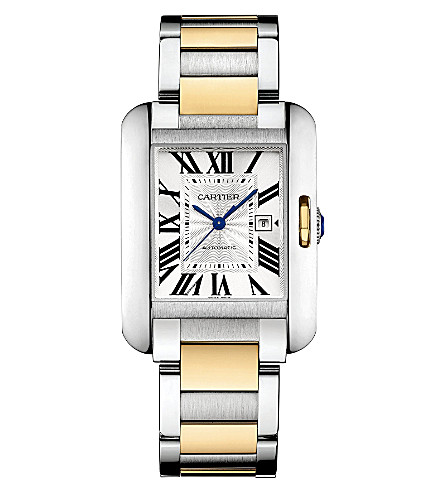 CARTIER Tank Anglaise 18ct yellow-gold and steel large watch