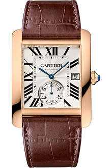 CARTIER Tank MC 18ct pink-gold and leather watch