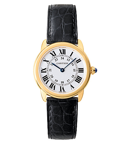 CARTIER Ronde Solo de Cartier 18ct yellow-gold and leather small watch