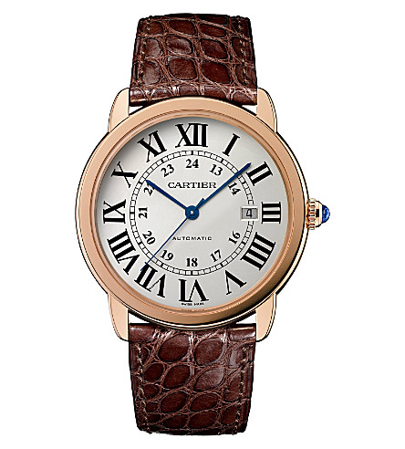 CARTIER Ronde Solo de Cartier 18ct pink-gold, stainless steel and leather watch