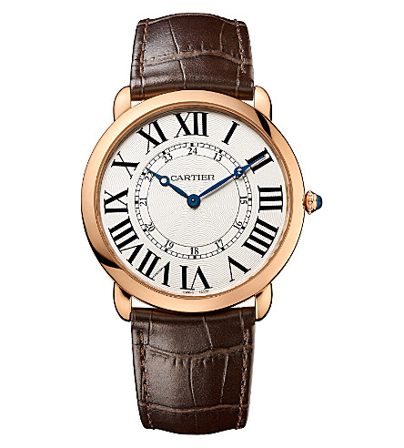 CARTIER Ronde Louis Cartier 18ct pink-gold and leather watch