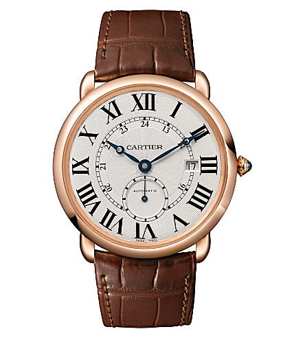 CARTIER Ronde Louis 18ct pink-gold and leather watch