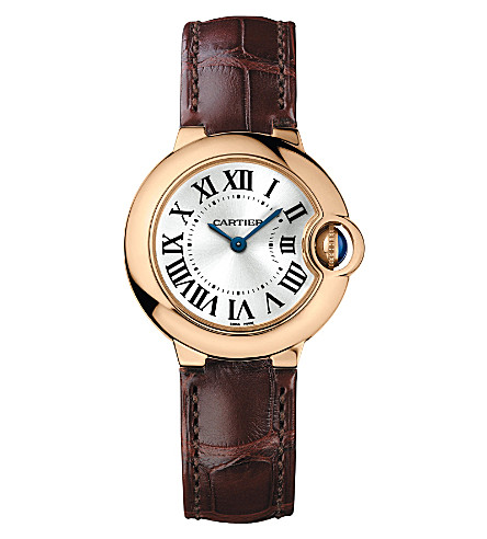 CARTIER Ballon Bleu de Cartier 18ct pink-gold and alligator watch