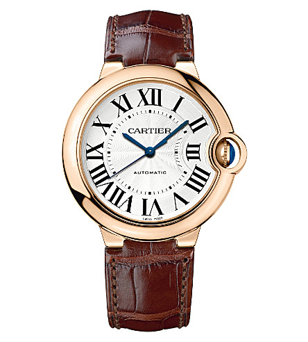 CARTIER Ballon Bleu de Cartier 18ct pink-gold and leather watch