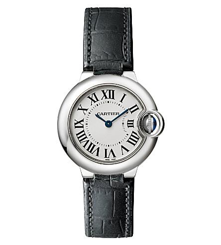 CARTIER Ballon Bleu de Cartier stainless steel and leather watch