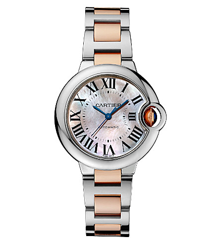 CARTIER Ballon Bleu de Cartier 18ct pink-gold and stainless steel watch