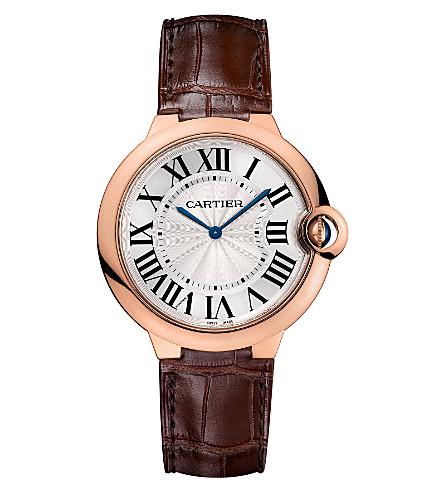 CARTIER Ballon Bleu de Cartier 18ct pink-gold and leather watch 40mm