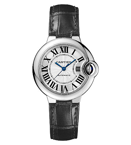 CARTIER Ballon Bleu de Cartier stainless steel and leather watch