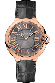 CARTIER Ballon Bleu de Cartier pink gold and leather watch 40mm