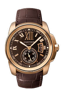 CARTIER Calibre de Cartier pink gold and leather watch