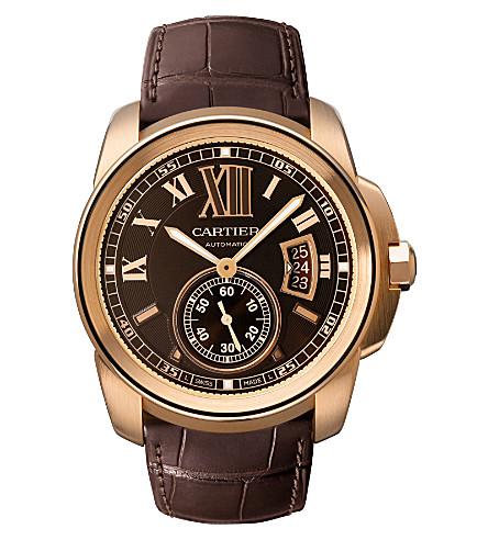 CARTIER Calibre de Cartier pink gold and leather watch